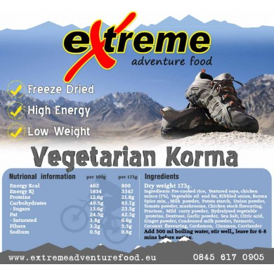 Extreme Adventure Food Vegetarian Korma