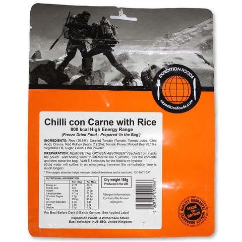 Expedition Food Chilli Con Carne with Rice (High Energy)
