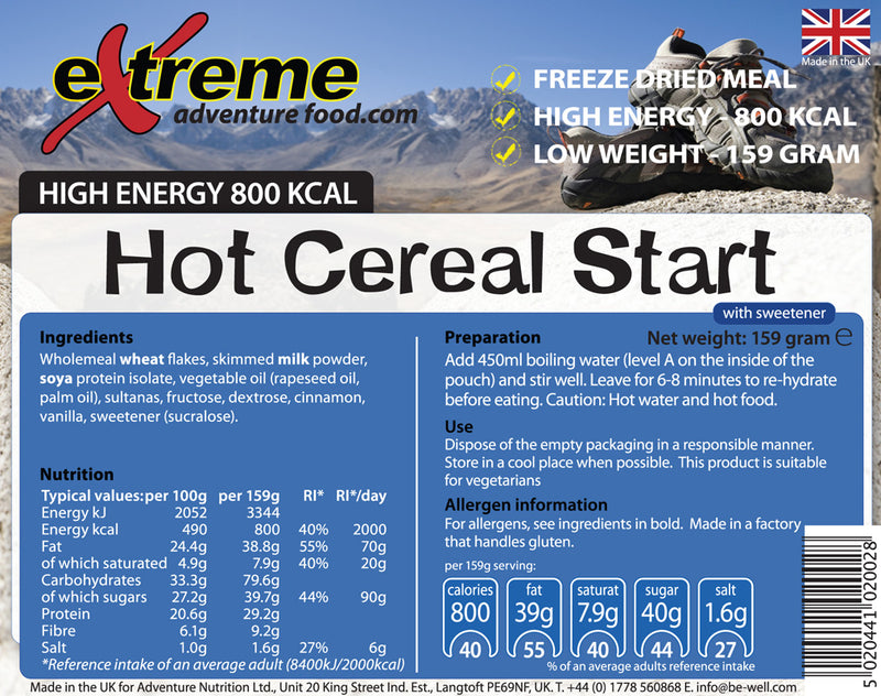 Extreme Adventure Food Hot Cereal Start