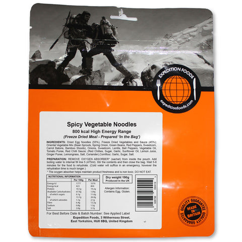 Expedition Food Spicy Vegetable Noodles (High Energy)