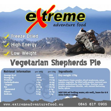 Extreme Adventure Food Vegetarian Shepherds Pie