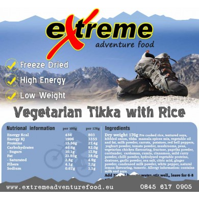Extreme Adventure Food Vegetarian Tikka with Rice