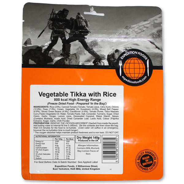 Expedition Foods Vegetable Tikka with Rice (High Energy)
