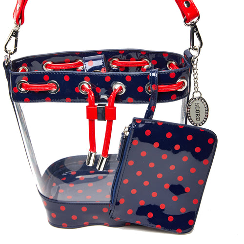SCORE! Clear Sarah Jean Designer Crossbody Polka Dot Boho Bucket Bag-Blue and Red