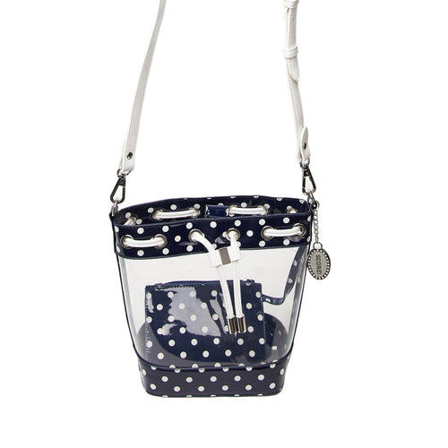 SCORE! Clear Sarah Jean Designer Crossbody Polka Dot Boho Bucket Bag- Navy Blue and White