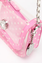 Load image into Gallery viewer, SCORE! Chrissy Small Designer Clear Crossbody Bag- Pink and White