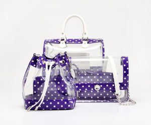 SCORE! Andrea Large Clear Designer Tote for School, Work, Travel - Royal Purple and White
