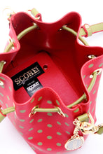 Load image into Gallery viewer, SCORE! Sarah Jean Small Crossbody Polka dot BoHo Bucket Bag - Red and Olive Green