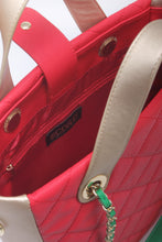 Load image into Gallery viewer, SCORE!'s Kat Travel Tote for Business, Work, or School Quilted Shoulder Bag -  Red, Gold and Green