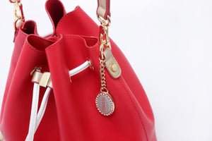 SCORE! Sarah Jean Crossbody Large BoHo Bucket Bag - Red, White, and Gold