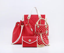 Load image into Gallery viewer, SCORE! Sarah Jean Small Crossbody Polka Dot BoHo Bucket Bag - Red, White and Gold