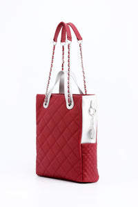 SCORE!'s Kat Travel Tote for Business, Work, or School Quilted Shoulder Bag - Maroon and White