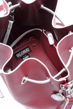Load image into Gallery viewer, SCORE! Sarah Jean Crossbody Large BoHo Bucket Bag - Maroon Crimson and Silver