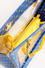 Load image into Gallery viewer, SCORE! Andrea Large Clear Designer Tote for School, Work, Travel - Imperial Blue and  Yellow Gold