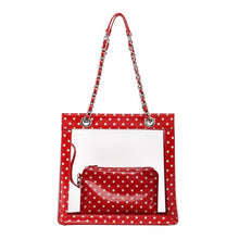 Load image into Gallery viewer, SCORE! Andrea Large Clear Designer Tote for School, Work, Travel - Red and White