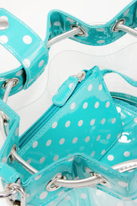 SCORE! Clear Sarah Jean Designer Crossbody Polka Dot Boho Bucket Bag-Turquoise and Silver