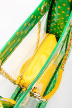 Load image into Gallery viewer, SCORE! Andrea Large Clear Designer Tote for School, Work, Travel - Fern Green and Yellow Gold