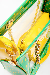 SCORE! Andrea Large Clear Designer Tote for School, Work, Travel - Fern Green and Yellow Gold