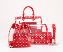 Load image into Gallery viewer, SCORE! Moniqua Large Designer Clear Crossbody Satchel - Racing Red and White