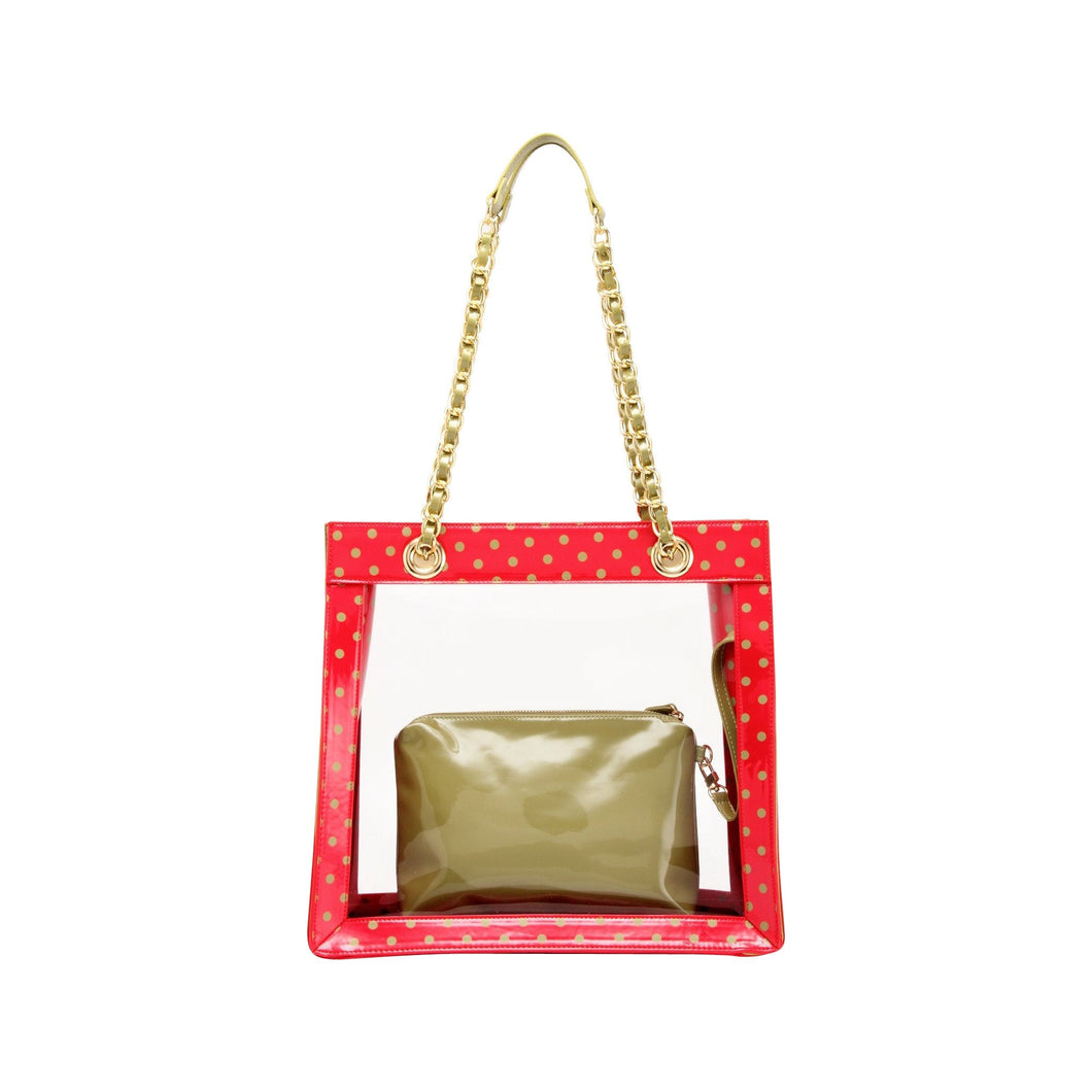 SCORE! Andrea Large Clear Designer Tote for School, Work, Travel- Racing Red and Olive Green