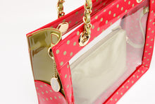 Load image into Gallery viewer, SCORE! Andrea Large Clear Designer Tote for School, Work, Travel- Racing Red and Olive Green