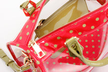 Load image into Gallery viewer, SCORE! Moniqua Large Designer Clear Crossbody Satchel- Red & Olive Green