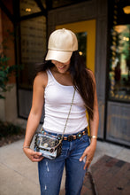 Load image into Gallery viewer, SCORE! Chrissy Small Designer Clear Crossbody Bag - Black and Gold Gold