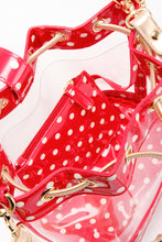 Load image into Gallery viewer, SCORE! Clear Sarah Jean Designer Crossbody Polka Dot Boho Bucket Bag-Red, White and Gold