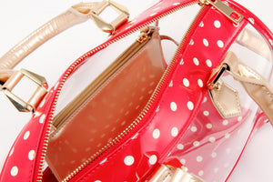 SCORE! Moniqua Large Designer Clear Crossbody Satchel - Red, White and Gold
