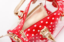 Load image into Gallery viewer, SCORE! Moniqua Large Designer Clear Crossbody Satchel - Red, White and Gold