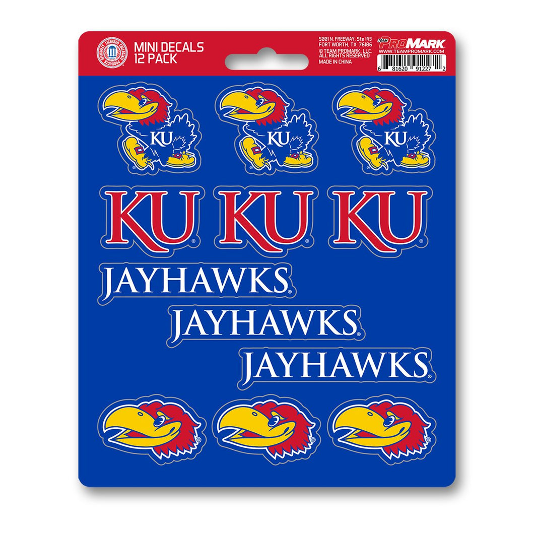 Kansas KU Jayhawks Mini Decal 12-pk