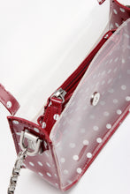 Load image into Gallery viewer, SCORE! Chrissy Small Designer Clear Crossbody Bag - Maroon and Silver