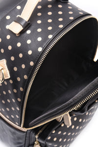 SCORE! Natalie Michelle Large Polka Dot Designer Backpack - Black and Metallic Gold