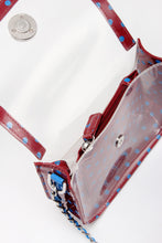 Load image into Gallery viewer, SCORE! Chrissy Small Designer Clear Crossbody Bag - Maroon and Blue