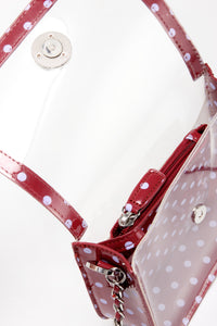 SCORE! Chrissy Small Designer Clear Crossbody Bag - Maroon and Lavender