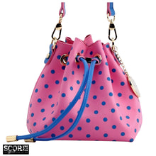 Load image into Gallery viewer, SCORE! Sarah Jean Small Crossbody Polka dot BoHo Bucket Bag  - Pink and Blue