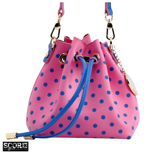 SCORE! Sarah Jean Small Crossbody Polka dot BoHo Bucket Bag  - Pink and Blue
