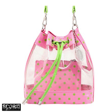 Load image into Gallery viewer, SCORE! Clear Sarah Jean Designer Crossbody Polka Dot Boho Bucket Bag-Pink and Lime Green