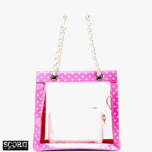 Load image into Gallery viewer, SCORE! Andrea Large Clear Designer Tote for School, Work, Travel - Pink and White