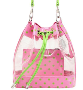 SCORE! Clear Sarah Jean Designer Crossbody Polka Dot Boho Bucket Bag-Pink and Lime Green