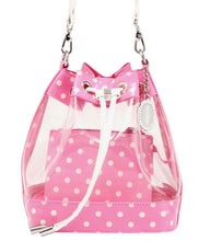 Load image into Gallery viewer, SCORE! Clear Sarah Jean Designer Crossbody Polka Dot Boho Bucket Bag-Pink and White