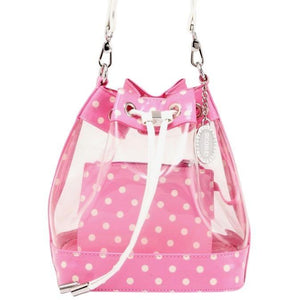 SCORE! Clear Sarah Jean Designer Crossbody Polka Dot Boho Bucket Bag-Pink and White