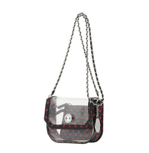 Load image into Gallery viewer, SCORE! Chrissy Small Designer Clear Crossbody Bag - Black and Red