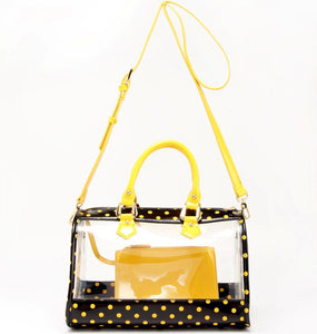 SCORE! Moniqua Large Designer Clear Crossbody Satchel - Black and  Yellow Gold