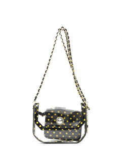 SCORE! Chrissy Small Designer Clear Crossbody Bag - Black and Gold Yellow