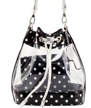Load image into Gallery viewer, SCORE! Clear Sarah Jean Designer Crossbody Polka Dot Boho Bucket Bag- Black and Silver