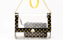 Load image into Gallery viewer, SCORE! Chrissy Medium Designer Clear Cross-body Bag -Black and  Yellow Gold