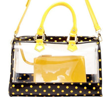Load image into Gallery viewer, SCORE! Moniqua Large Designer Clear Crossbody Satchel - Black and  Yellow Gold