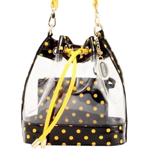 SCORE! Clear Sarah Jean Designer Crossbody Polka Dot Boho Bucket Bag- Black and Gold Yellow