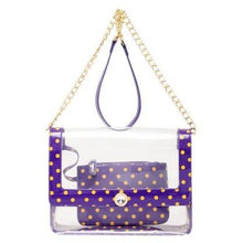 Load image into Gallery viewer, SCORE! Chrissy Medium Designer Clear Cross-body Bag - Royal Purple and  Yellow Gold